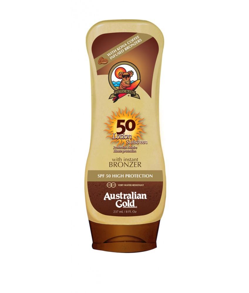 Crema Solar con bronceador SPF 50 Lotion Bronzer Australian Gold